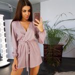 Spring Fashion Sexy V neck Sashes Long Sleeve Solid Casual Romper
