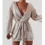 Party Elegant Long Sleeve V-neck Formal Fashion Sequins Bling Romper