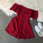Elegant Double Ruffles Slash Neck Rompers