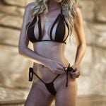 G-string Thong Black Lace Up Bathing Suit Sexy Bikini