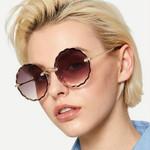 Retro Rimless Mirror Vintage Luxury Flower Shape Round Sunglasses