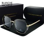 Gold Frame Mirror With Box Square Polarized Sunglasses