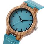 Creative Blue Genuine Leather Modern Wooden Watch