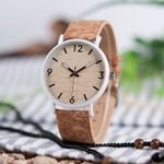 Dial Stainless Steel Case Bamboo Cork Leather Wrist Wooden Watch