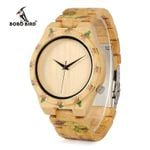 Rose Pattern Bamboo Band Wrist Wood Watches