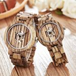 Round Dial Band Hollow Bracelet Casual Wrist Wooden Watch