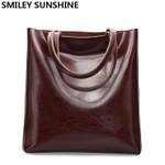 Vintage Office Shoulder Cow Leather Genuine Handbags