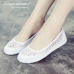 nurse Casual Lace Hollow Floral Breathable Flat Shoes