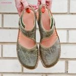 Retro Button Flat Roman Character Round Toe Sandals