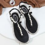 comfortable string bead slippers casual  flat pearl sandals