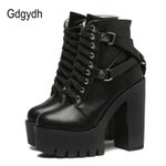 Lace-up Soft Leather Platform Fashion Boots