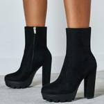 Stripper Platform Suede Ankle  High Heels Leopard Boots