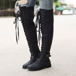 Retro Round Toe Vintage Lace-UP Thigh High Boots
