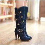 Round Toe  high heels  fashion Denim Buckle Knee-High boots
