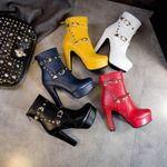 Fashion Ankle Sexy High Heels Metal Short Boots