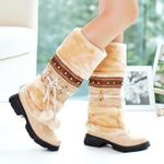 Warm tassel Plush Snow Fringe Creepers Mid Calf Boots
