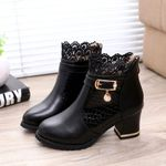 Vintage Leather Ankle Lace Short Boots