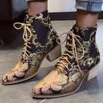 Embroider Ethnic Ankle Lace Up Pointed Toe Stylish Boots
