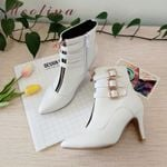 Pointed Toe Buckle Zip High Heels Ankle Boots