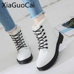 Short Plush Fur Warm Pu Leather Lace-up Ankle Snow Boots