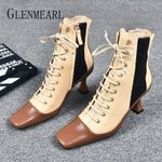 Fashion High Heels Lace Up Ankle Square Toe Genuine Leather Boots