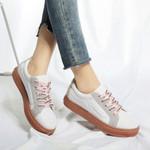 Lace-up Sporty Graffiti Platform PU Fashion Vulcanized Shoes
