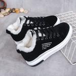 Lace Up Fashion Platform  Warm Fur Plush Casual Shoes