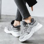Plush Faux Suede Leather Fashion Casual Sneakers