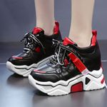 Thick Sole Casual Lace-up Vulcanized Platform Leather Sneakers