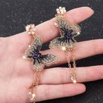 Embroidery Butterfly Crystal Long Tassel Fashion Pearl Earrings