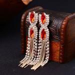 Gem Tassel Design Formal Earrings
