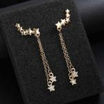 Chain CZ Crystal Luxury Moon And Stars Tassel Drop Earrings