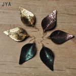 Statement Leaf Fashion Jewelry Trendy Real Leather Earrings