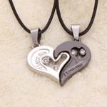 Unisex  Fashion Couple Heart Shape Pendant Necklace