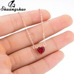 Fashion Collier Cute Tiny Red Heart Pendant  Silver Necklace