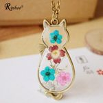 Cute Bronze Flower Resin Glass Cat Pendant Long Chain Necklace