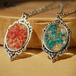 Retro Flower Resin Glass Raised Oval Pendant Chain Necklace