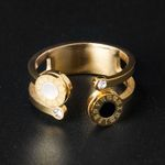 Hollow Out Round Crystal  Open Cuff Finger Rings
