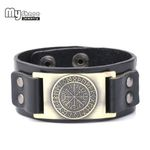 Jewelry Odin Symbol Leather Viking Compass Pendants Bangle