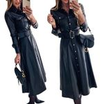 A-Line Buttons Belt PU Vintage Faux Leather Casual Dress