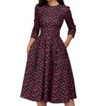 3/4 Sleeves A-Line O-Neck Floral Vintage Elegant Print Midi Dress