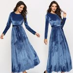 A-Line O-Neck Zipper  Round Neck High Waist Laced Maxi Dress