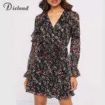 A Line  Floral Print Ruffle Elegant Fashion Party Dress