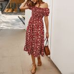 A Line Mid Calf Vintage Casual Strapless Floral Dresses