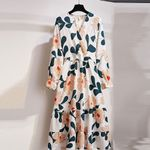 Adorable Elastic Waist Soft Loose Casual Long Sleeve Floral Dress