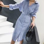 Lapel Long Sleeve Striped Print Waist Shirt Dress