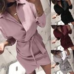 Long Sleeve Turn-Down Collar Shirt Dresses