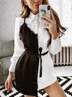 Elegant Brief Lace Insert Shirt Dress
