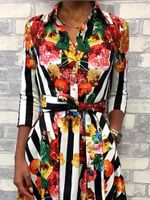 3/4 Sleeve Sashes Floral Striped Print Half Sleeve Shirt Dress