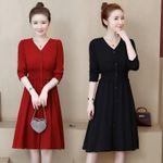 V-neck  long sleeves slim Casual shirt dress